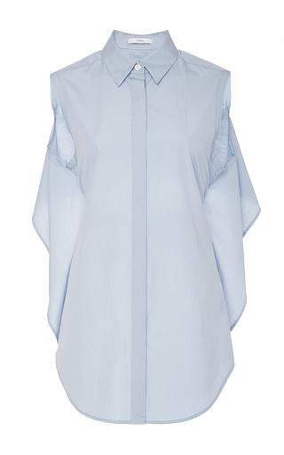 Medium tome light blue cotton poplin tie back shirt