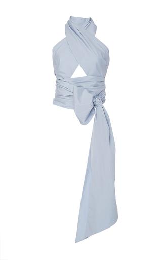 Medium tome light blue oversized cotton wrap top