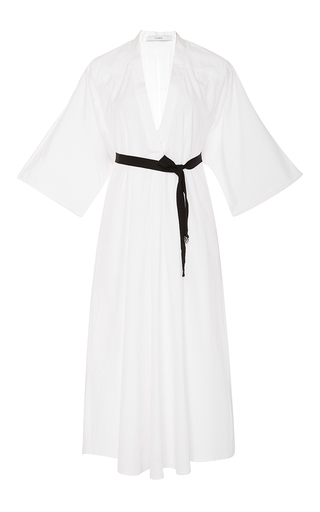 Medium tome white belted v neck dress