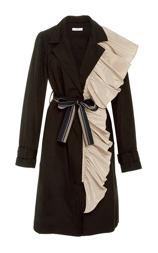 Medium tome navy ruffle trench coat