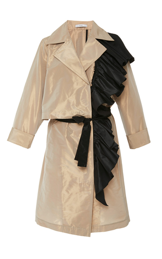 Medium tome tan ruffled tailored coat