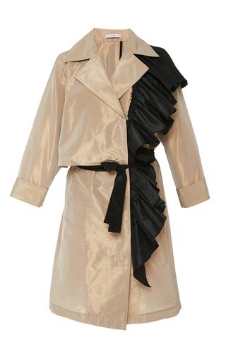 Medium tome tan ruffled tailored coat