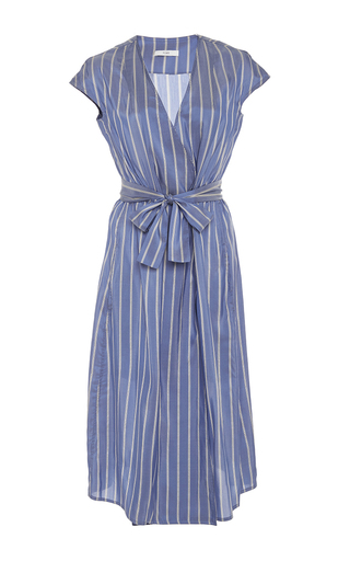 Medium tome blue silk stripe wrap dress