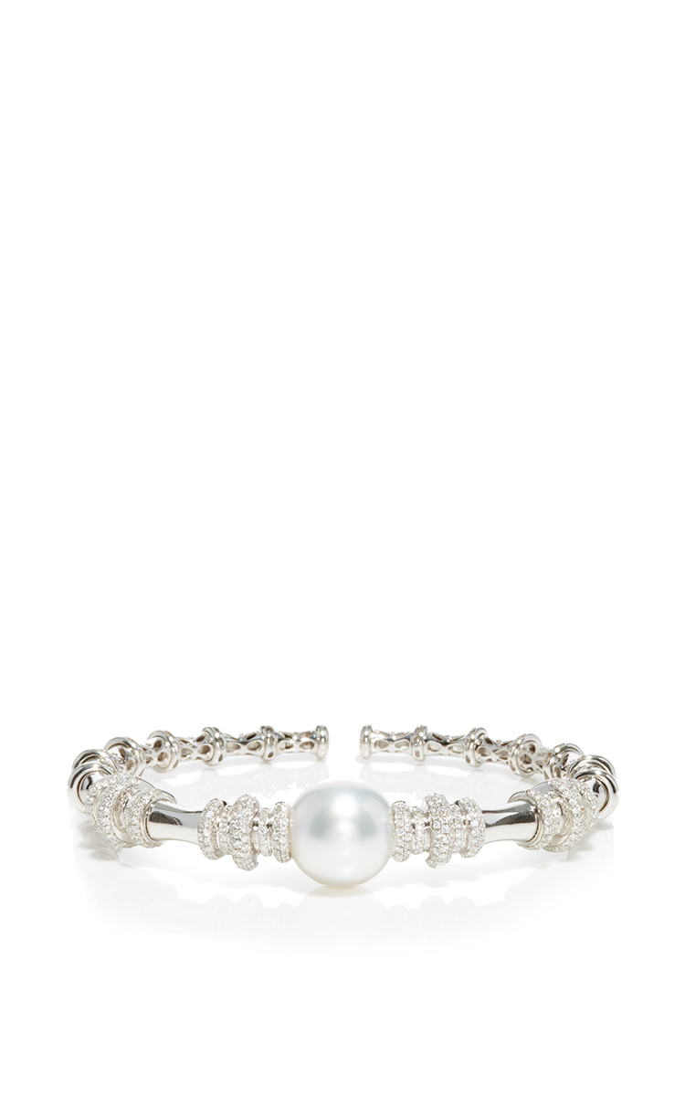 Yoko London 18K White Gold & Pearl Bangle with Diamonds Hk0wZF