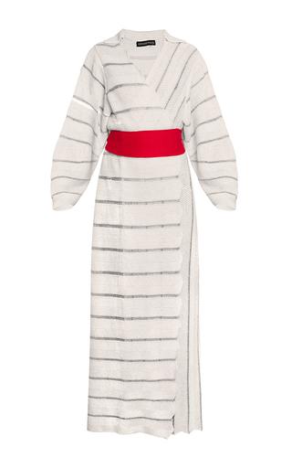 Medium ksenia seraya white striped knitwear kimono coat