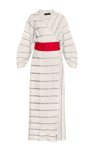 Medium ksenia seraya white striped knitwear kimono coat
