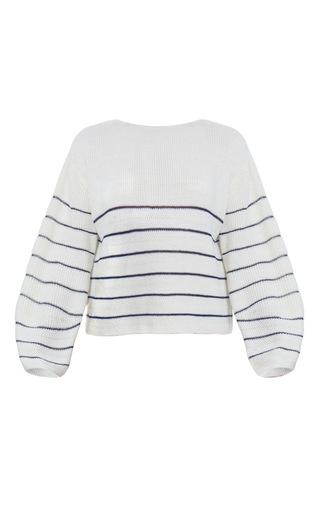 Medium ksenia seraya white knitted striped sweater