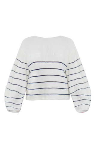 Medium ksenia seraya white knitted striped sweater