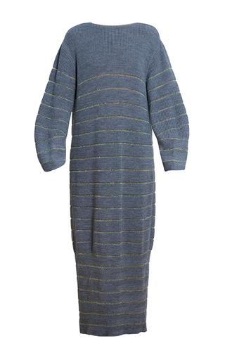 Medium ksenia seraya dark grey striped knit dress