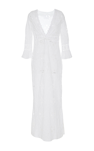 Medium temptation positano white pegaso eyelet caftan