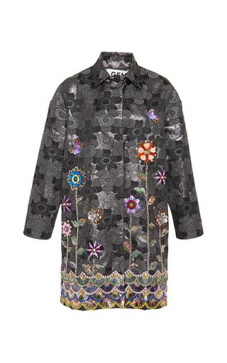 Medium gem dark grey roberta jacquard coat