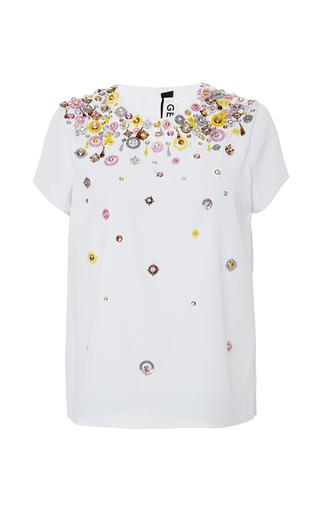 Medium gem white lollo embellished top