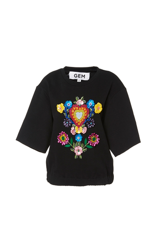 Medium gem black clarissa short sleeve embellished sweater