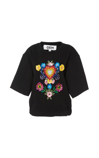 Medium gem black clarissa short sleeve embellished sweater