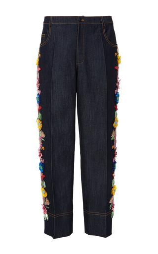 Medium gem dark wash calipso embellished cropped jeans