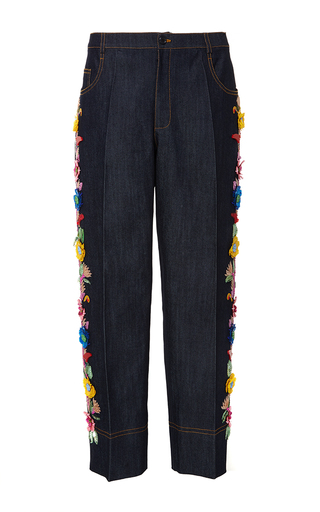 Medium gem dark wash calipso embellished cropped jeans