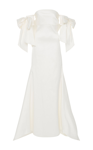 Medium sachin babi ivory off the shoulder bow gown