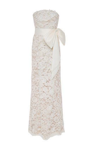 Medium sachin babi ivory floral lace column gown