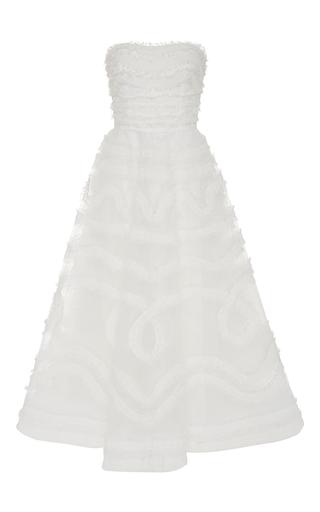 Medium sachin babi ivory crinkle chiffon midi gown