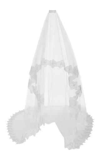 Medium oscar de la renta ivory corded pansy chantilly lace tulle veil