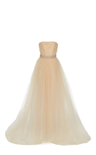 Medium romona keveza nude french dew drop crystal gown