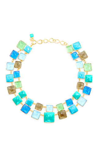 Medium loulou de la falaise multi 24k yellow gold plated turquoise aquamarine and mint green mosaic necklace