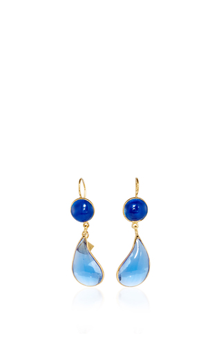 Medium loulou de la falaise blue 24k yellow gold plated lapis and sapphire bicolor teardrop hook earrings