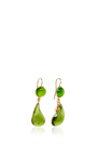24 K Yellow Gold Plated Moss Green And Olivine Bicolor Teardrop Hook Earrings by LOULOU DE LA FALAISE Now Available on Moda Operandi