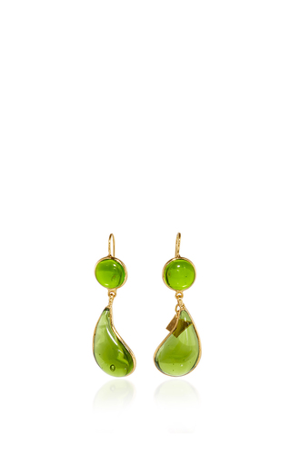 Medium loulou de la falaise green 24k yellow gold plated moss green and olivine bicolor teardrop hook earrings