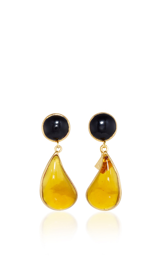 Medium loulou de la falaise multi 24k yellow gold plated black and amber bicolor teardrop clip earrings
