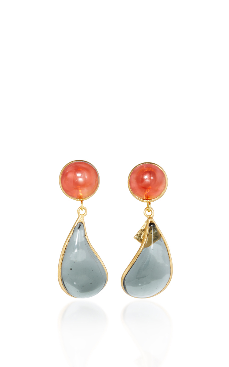 24K Gold-Plated Multi-Stone Clip Earrings Loulou De La Falaise skZsRDKMXb