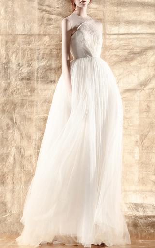Medium delpozo white illusion neckline dress