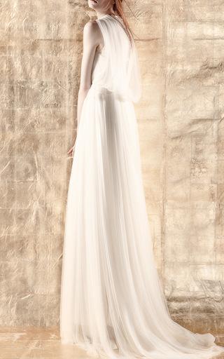 Medium delpozo white silk tulle dress