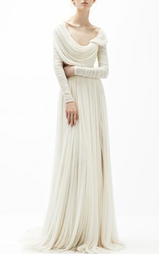 Medium delpozo white low boat neck dress