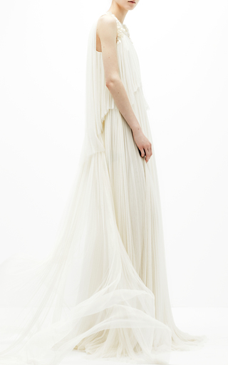 Medium delpozo white two tiered pleated dress