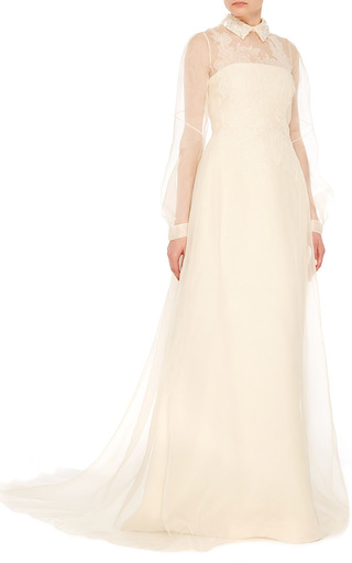 Medium delpozo white collared a line dress