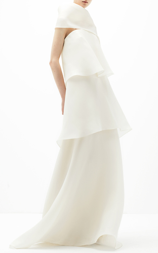 Medium delpozo white tiered sleeveless dress