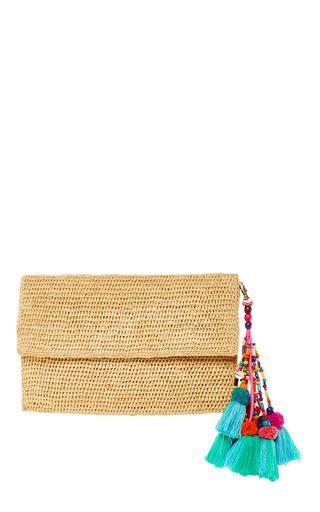 Medium heidi wynne khaki edgartown raffia clutch with tassel