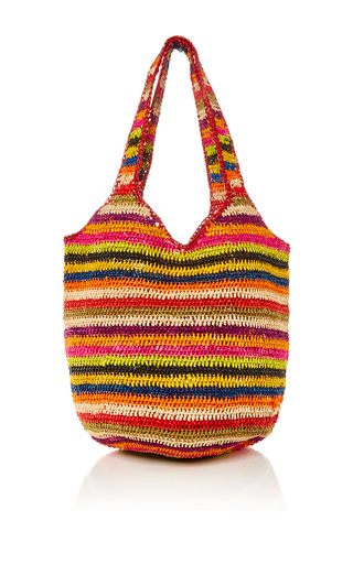Medium heidi wynne multi rainbow raffia hobo
