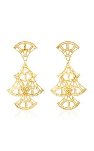 Medium mallarino gold abanico large chandelier earrings