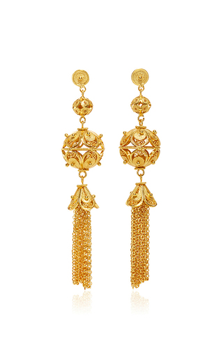Medium mallarino gold gala embellished ball and tassel earrings
