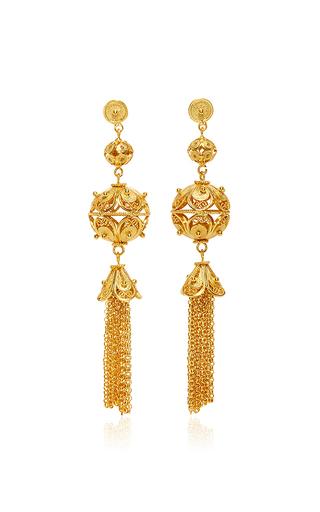 Medium mallarino gold gala embellished ball and tassel earrings