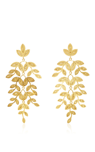 Medium mallarino gold gabriella leaf earrings