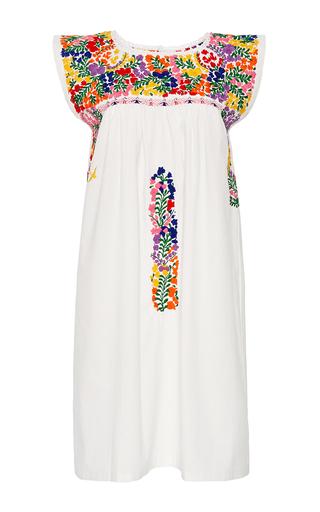 Medium mi golondrina white arroyo de flores hand embroidered dress