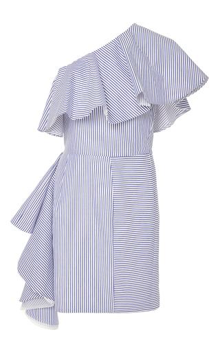 Medium viva aviva stripe takeo one shoulder shirting dress