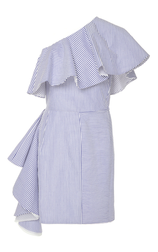 Medium viva aviva stripe takeo one shoulder shirting dress