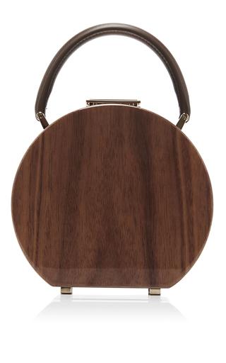 Medium bu wood brown american walnut wood bumi 14 top handle bag