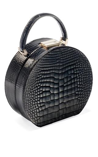 Medium bu wood black shiny alligator leather black bumi 18 top handle bag