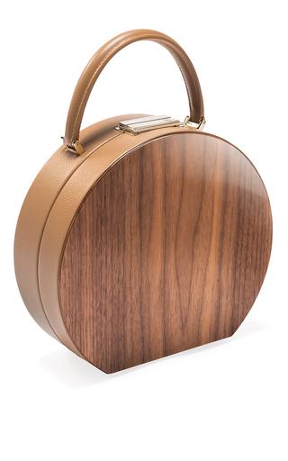 Medium bu wood tan american walnut wood camel bumi 22 top handle bag