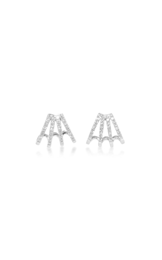 14 K White Gold Diamond Huggie Earrings  by EF COLLECTION Now Available on Moda Operandi